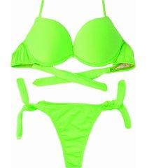 biquíni bojo bolha alça estreita divance verde neon calcinha de amarração lateral