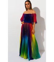 akira taste the rainbow pleated maxi dress