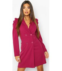 blazer jurk met pofschouders en dubbele knopen, framboos