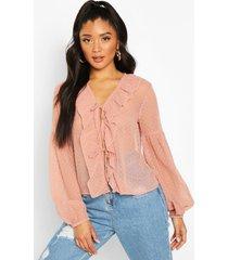 dobby mesh tie front ruffle blouse, blush