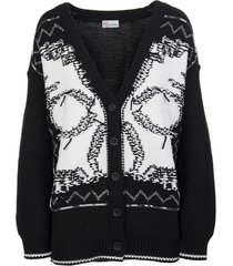 red valentino black cardigan with contrast inlay