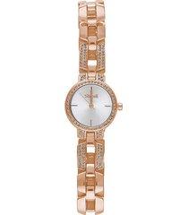 versailles 3h orologio in acciaio rose gold con quadrante silver e bracciale con strass per donna