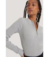 na-kd recycled stickad tröja med dragkedja - grey