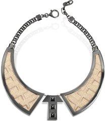avril 8790 designer necklaces, bavero contemporaneo ruthenium plated brass and golden viscose necklace