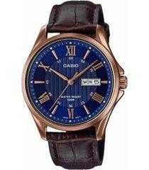 reloj analógico hombre casio mtp-1384l-2a - marrón con azul