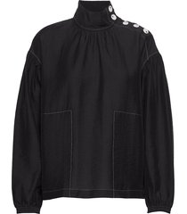 carla top blouse lange mouwen zwart wood wood
