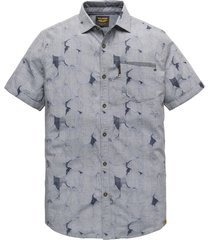 pme legend psis202261 5287 short sleeve shirt jacquard fabric dark sapphire blauw