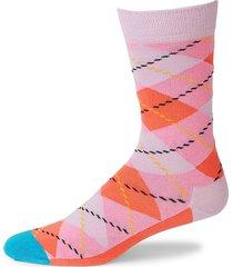 happy socks men's argyle geometric-print crew socks - pink - size 9-11