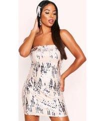 textured sequin bandeau dress, silver
