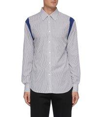 contrast shoulder cutout striped cotton shirt