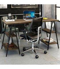 mesa para escritório kuadra 4 prateleiras carvalho dark - compace
