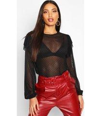 flock mesh ruffle detail blouse, black