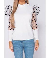 blouse parisian organza polka dot puffed - high neck top -