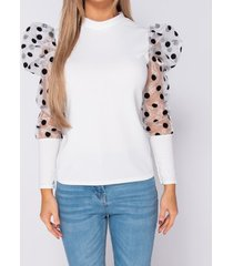blouse parisian organza polka dot puffed - high neck top -