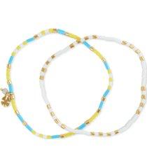 lucky brand gold-tone 2-pc. set flat beaded stretch bracelets