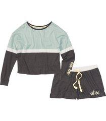 pigiama corto con maglia a manica lunga (grigio) - rainbow