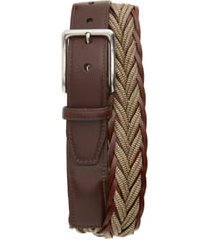 men's big & tall torino braided cotton & leather belt, size 46 - camel/ brown