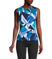 calvin klein women's abstract-print sleeveless top - lagoon multi - size l