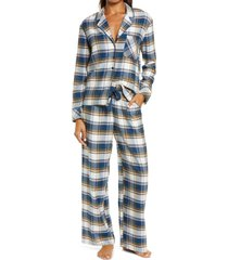 women's nordstrom flannel pajamas, size x-small - blue