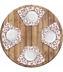 jogo americano love decor para mesa redonda wevans multi triângulos kit com 4 pçs
