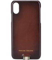 officine creative stripe detail iphone x case - brown