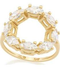 anel rommanel skinny ring com detalhe redondo vazado com zircônias navetes feminino