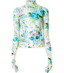richard quinn glove-sleeve floral turtleneck top - white
