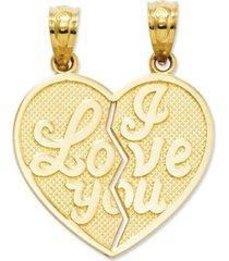 14k gold charm, i love you heart break-apart reversible charm