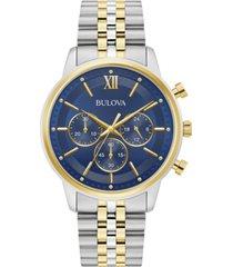 bulova men's chronograph two-tone stainless steel bracelet watch 41mm
