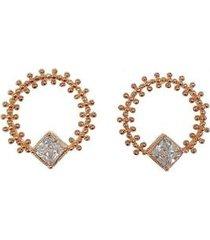 brinco armazem rr bijoux redondo com bolinhas e cristal rose - feminino