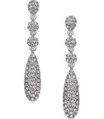 eliot danori silver-tone pave crystal drop earrings, created for macy's