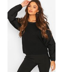 big sleeve cotton mix and jersey contrast blouse, black