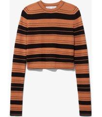 proenza schouler white label compact stripe cropped crewneck pullover black/cinnamon/brown l