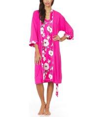 christian siriano new york alta chemise nightgown & robe 2pc pajama travel set