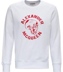 alexander mcqueen cotton sweatshirt with red skull logo