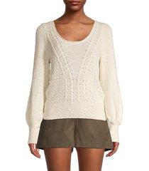 bcbgmaxazria women's scoopneck puffed-sleeve sweater - off white - size xs