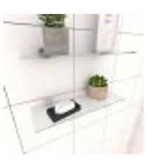 kit com 2 prateleiras para banheiro 30 cm vidro temperado