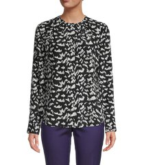 boss hugo boss women's printed long-sleeve silk top - black multi - size 2