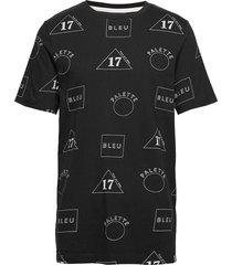 crew neck tee with allover print t-shirts short-sleeved svart scotch & soda