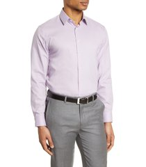 men's nordstrom extra trim fit non-iron solid stretch dress shirt, size 15 - purple