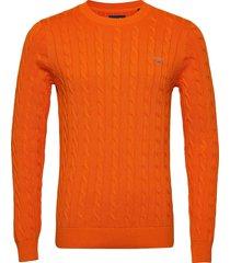 cotton cable crew stickad tröja m. rund krage orange gant