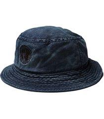 nigel cabourn globe logo bucket hat | black navy | ncbct-nvy
