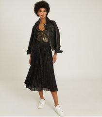 reiss marianne - mesh pleated midi skirt in black, womens, size 14