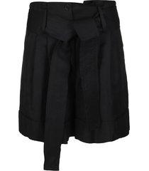 parosh black viscose-linen blend shorts