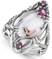 carolyn pollack white mother of pearl (10x24mm) & garnet ring in sterling silver