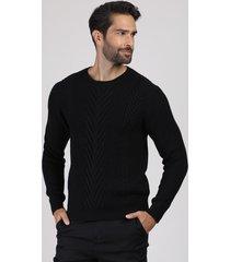 suéter masculino em tricô texturizado gola careca preto