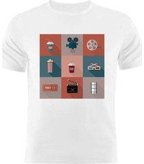 camiseta manga curta nerderia movies2 branco - branco - masculino - dafiti