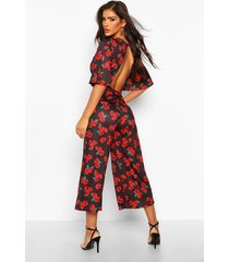 rose print flared sleeve culotte jumpsuit, black
