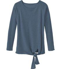 luchtige linnen pullover met bindsluiting, rookb 40/42