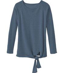luchtige linnen pullover met bindsluiting, rookblauw 36/38